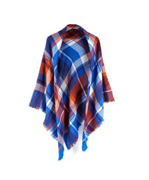 Women's Cozy Tartan Scarf Wrap Shawl Neck Stole Warm Plaid Checked Pashmina - Blue/Orange - CB186GUD6WX