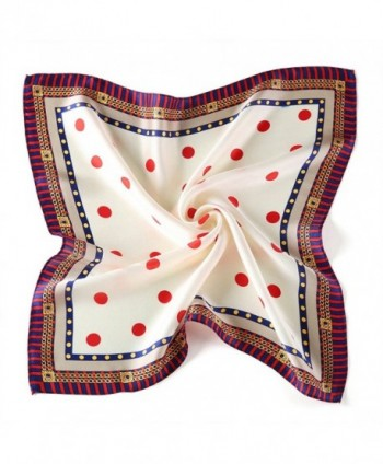 Satin Silk Neckerchief Sundayrose Womens Print Small Square Scarves - Polka Dot White Red - CD1850LYEYG