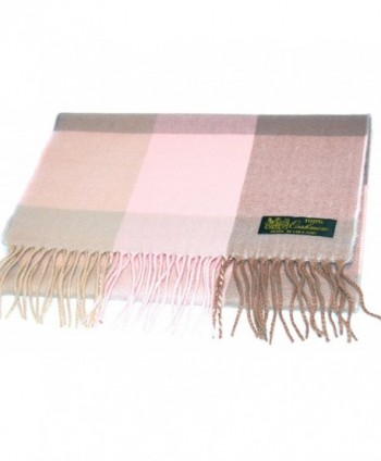 Pink Taupe Plaid Cashmere Scarf