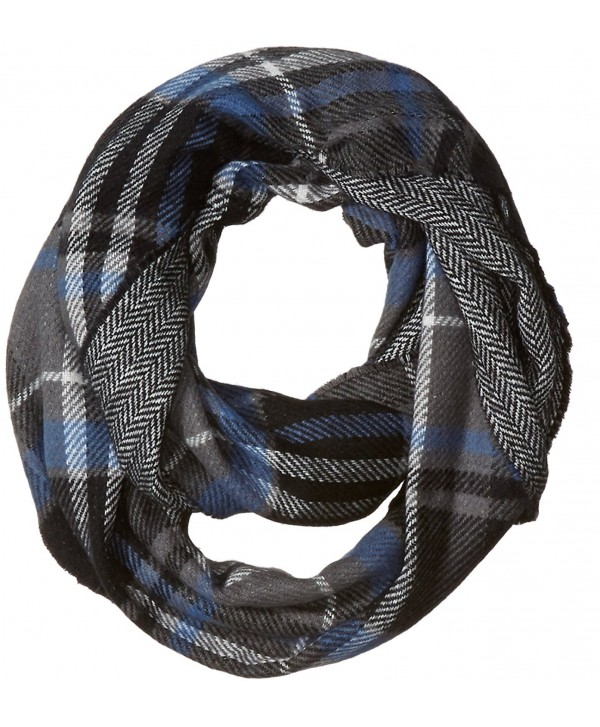 D&Y Women's Traditional Plaid Loop Scarf Reversible To Herringbone Print - Grey - CK12JOP70P1