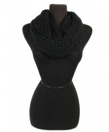 Women Crochet Softness Infinity Scarf Wrap for Winter - Black - C71281XXLCD