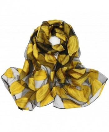 Ayli Women's Flora Leaf Organza Scarf Long Shawl Lightweight Fashion Wrap - Yellow - CL186YLK9D9