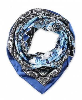 corciova Fashionable Neckerchief Head Scarf for Women 35x35 inches - 59 Violet Blue and Black - C612BKDM0WN