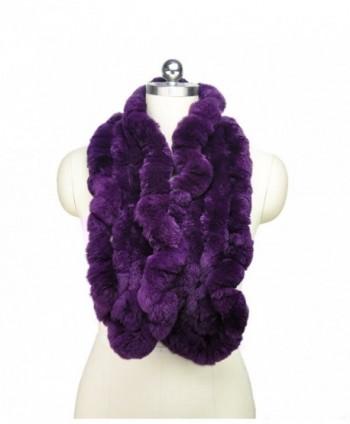 MEEFUR Women's Real Rex Rabbit Fur Winter Long Wraps - Purple - CZ12NEU8300