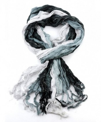 NYFASHION101 Shiny Glitter Sparkly Multicolor Frayed Ends Crinkle Viscose Scarf - Black/White/Steel Blue - CO11MU59AEL