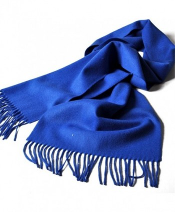 Sherry007 Women's Cashmere Wool Blend Soft Warm Fashion Tassel Long Scarf Wrap in Solid Colors - Royal Blue - C012M7FVU01