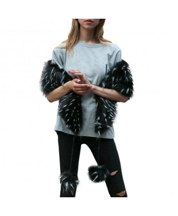 SUKEQ New Womens Elegant Charming Faux Fur Collar Scarf Scarves Winter Warm Parka Shawl Wrap Scarf - Black - CT187SIHGHI