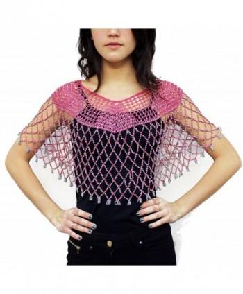Womens Beaded Sparkle Crochet V Neck