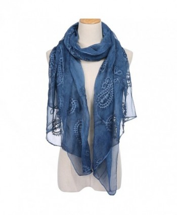 Womens Chiffon Embroidery Bandanna Long Scarf Lightweight Wrap Shawl Beach Cover Solid Color Scarves - Navy Blue - CJ184A8LQNI