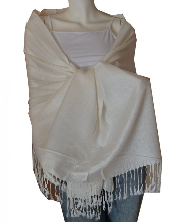 New Best Soft 100% Pashmina Scarf Shawl Wrap Stole (Cream) - CQ114ZWA8HP