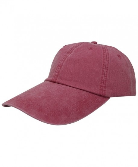 Sunbuster Extra Long Bill 100% Washed Cotton Cap with Leather Adjustable Strap - Red - CG12L01O86L