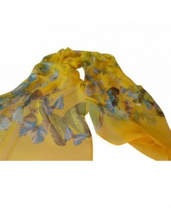 COCONEEN Womens Butterfly Headwear Yellow in Wraps & Pashminas
