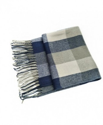 Scarves for Women - OKEER Plain Weave Plaid Style For Wraps Blanket - Bluegray - CA186I9L5YR