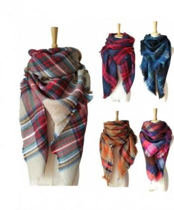 SKYLINK Women's Blanket Scarf Big Winter Scarf Cozy Blankets for Women - Light Camel Plaid - CB187L6ZQWC