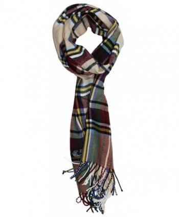 Ted and Jack - Ted's Classic 20% Cashmere 80% Viscose Plaid Scarf - Tan and Burgundy - CM186TIDDS6