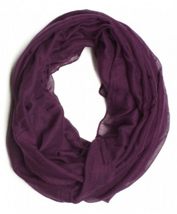 DRY77 Solid Thin Infinity Loop Scarf - Purple - C011G1149RT