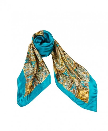 Silk Scarves- Vinmax Classical Pattern Large Square Women Girl Fashion Scarf Elegant Scarves - Blue - CG187LZ5W7T