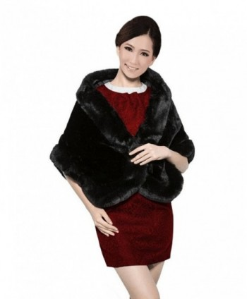 Sweetdresses Women's Faux Fur Wrap Cape Shawl Jacket - Black - C912699QXZX