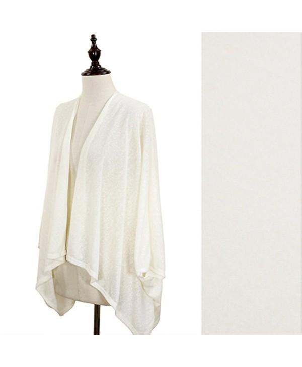 Women's Solid Gauzy Jersey Cardigan Kimono Wrap - Ivory - CU11VAU9JRP