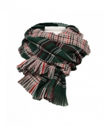 Aztec Blanket Scarf Women's Thick Knit Scarves Wraps Shawl ( Valentine's Day Promotion) - Greenblack Grid - CQ186DHQ8O2