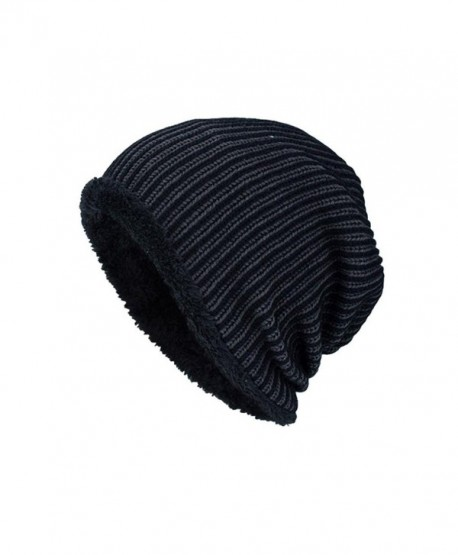 Highpot Men Winter Stripe Knit Beanie Hats Wool Knit Warm Hat Ski Caps - Black - CL188O9G5ER