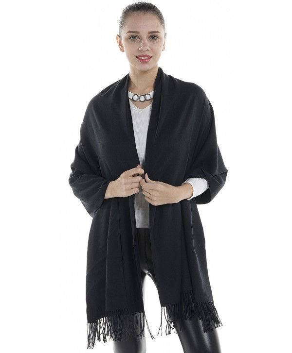 Niaiwei Cashmere Scarf Blanket Large Soft Pashmina Shawl Wrap For Men and Women - Black - CK185DG0AQ8
