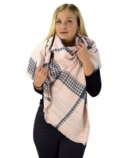 Peach Couture Warm Tartan Plaid Woven Oversized Fringe Scarf Blanket Shawl Wrap - Pink Navy - CX1880L349T
