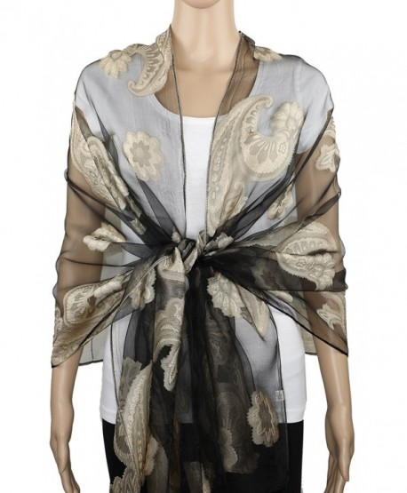 Achillea Sheer Burnout Scarf Evening Wrap Shawl w/ Embroidered Paisley Pattern - Camel - CQ18C4EOXY3