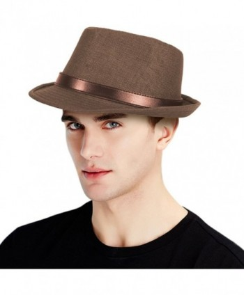 Classic Men's Straw Fedora Hat w/ Faux Leather Belt Band - Dark Brown - CA17X6MCAKH