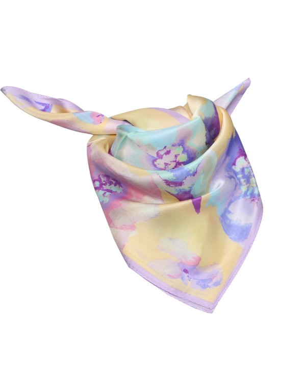 100% Silk Scarf Neckerchief Small Square Print Scarves Women - Ink Floral Yellow - CL189L6ESHI