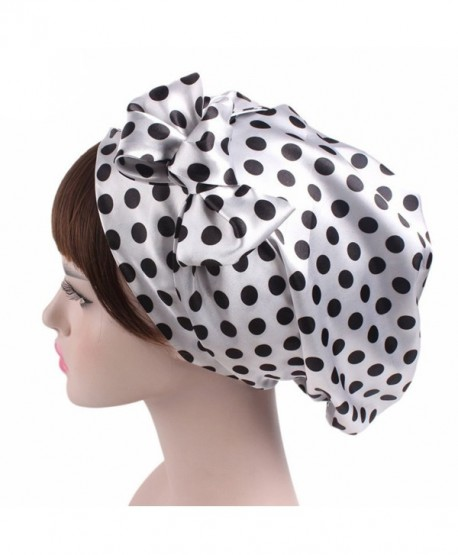 Super iMan Satin Chemo Hat Sleeping Hair Wrap Turban Hat Headwear For Cancer - Black Dot - CM188AOZH50