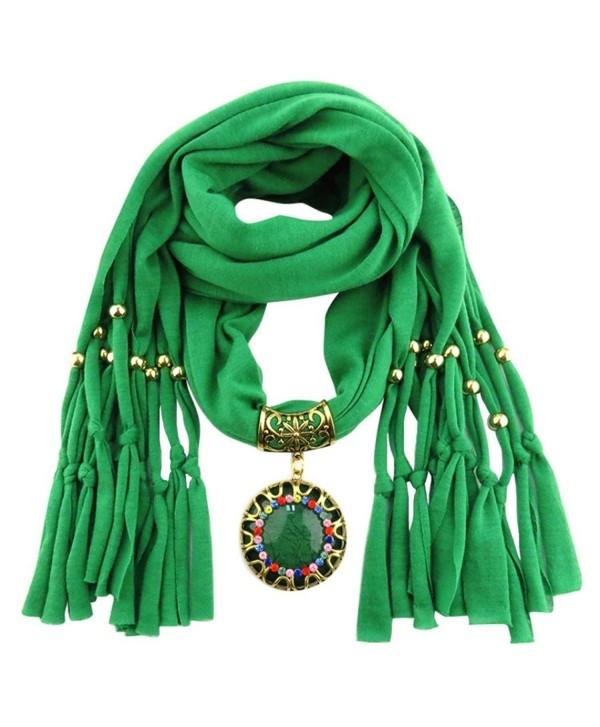 DDLBiz Women Pendant Scarf With Tassel Rhinestone Jewelry Scarves - Green - CC12N867XSF