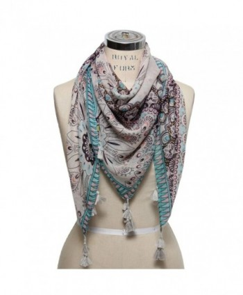 Scarfand's Multicolored Spring Print Scarf - Floral Beige - CS11LGR3HL7