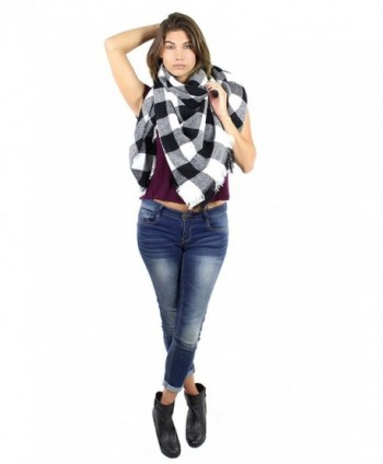 Knitted Oversized Square Scarf Check