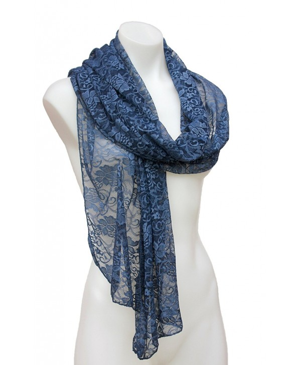 Terra Nomad Women's Girls Long Sheer Stretch Lace Scarf Shawl - Denim Blue - C411RP3PI13
