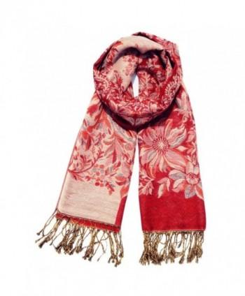 Women's Fashion Long Reversible 100% Pashmina Shawl Winter Warm Large Scarf - Chinese Red - C112L19M0SZ
