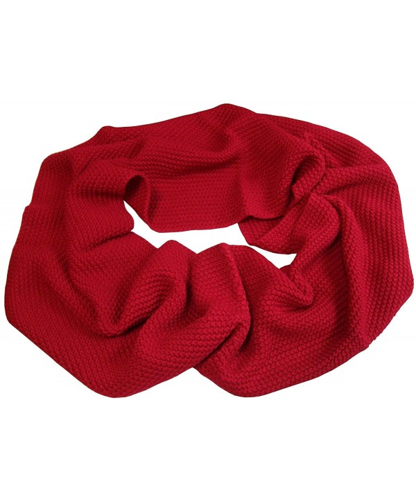 N'Ice Caps Womens Solid Chain Stitched Infinity Circle Scarf - Red - CD124DICW43