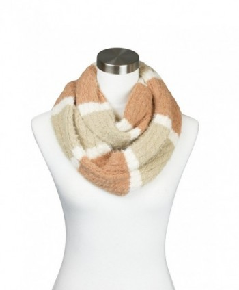 Womens Fuzzy Knitted Striped Design Soft Warm Fall Winter Infinity Loop Scarf - Taupe - CQ1852EAH3Q