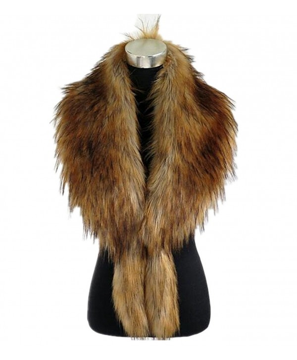 Super-long Faux fox fur raccoon fur upscale warm long scarf Jacket Shawl Shrug - Coffee - CF127DZA2YT