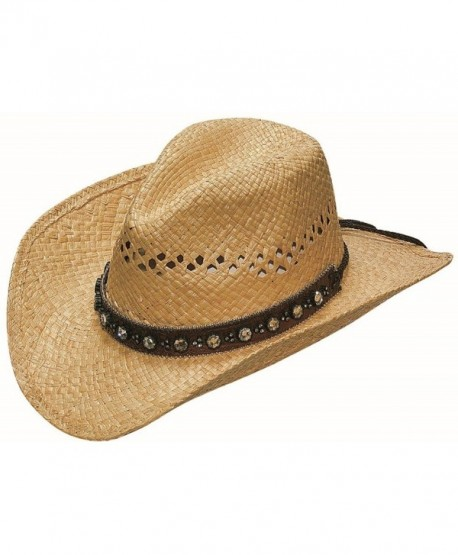 Blazin Roxx Women's Flower Rhinestone Raffia Hat - Tan/Brown - C7118Q7OA4R