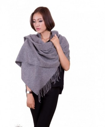 "70"" Long Pashmina Shawl Wraps Lambswool Scarf for Women Gift Box Idea - Grey - CT128S9N0VR"