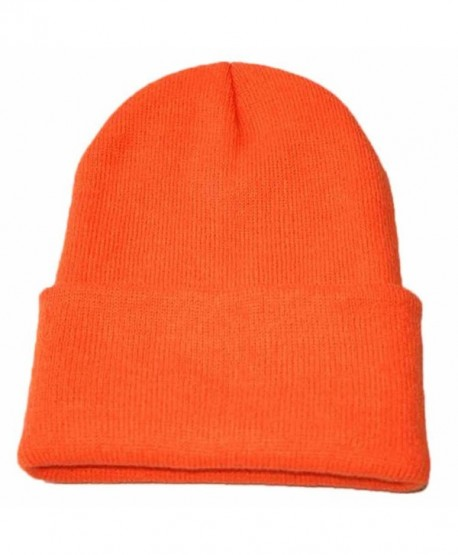 DBHAWK _men Caps Caps Men Slouchy Knitting Hip Hop Warm Winter Fall Ski Hat - Orange B - CV189HNOAM8