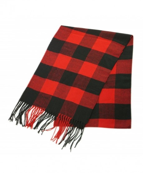 Unisex Plaid Cashmere Feel Winter Scarf 7 Comets - Buffalo Check - Red & Black - CR1874ZU0X7