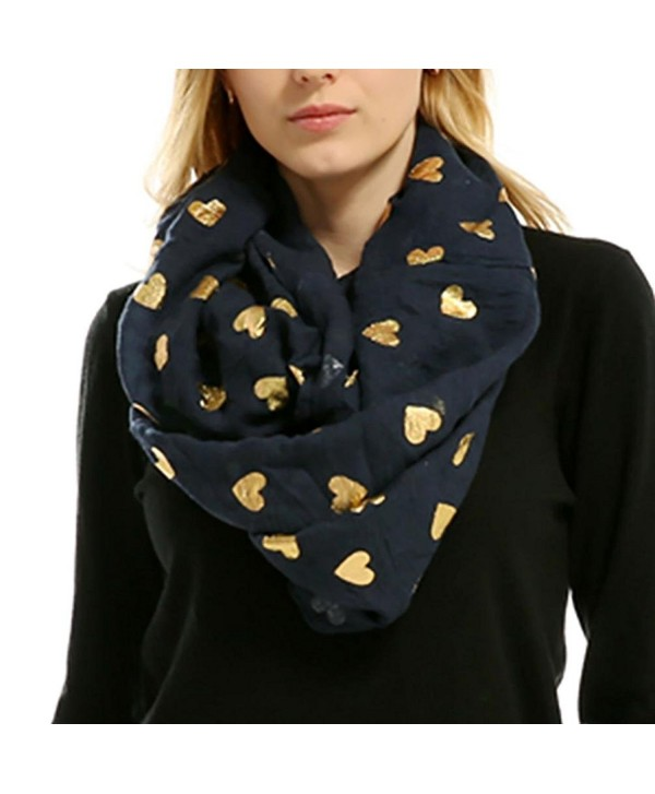 Women Soft Scarf Heart Shape Print Lightweight Shawl Bronzing Neck Wrap Scarves - Navy - CY187WK075K