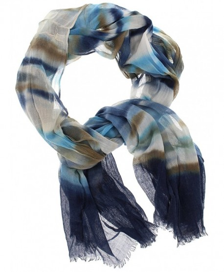 Violet & Virtue Women's Lightweight Tie-dye Long Scarf- Multi-Blue - CL17XWOXK2M