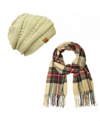 Wrapables Plaid Print Long Winter Warm Scarf and Beanie Hat Set - Red and Green - C912O8UPTRJ