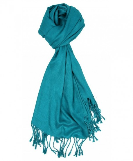 Love Lakeside-Large- Soft- Silky Pashmina Shawl- Wrap- Scarf in Solid Colors - Teal Blue - CR17YECOW5O