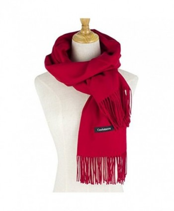 Cashmere Feel Winter Scarf- Soft Classic Luxurious Blanket Winter Warm Wrap - Red - CB18845LD2C