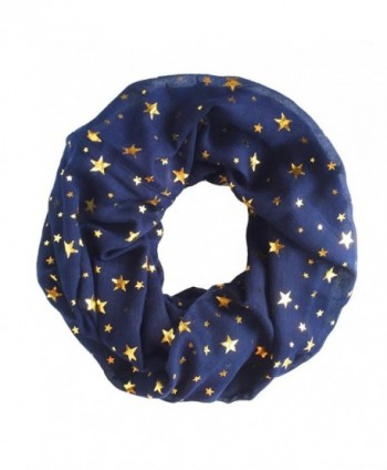 Trelemek Women's Soft Lightweight Star Printed Sheer Infinity Loop Circle Scarf - Navy-Gold - CQ17AA0RD53