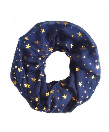 Trelemek Women's Soft Lightweight Star Printed Sheer Infinity Loop Circle Scarf - Navy-Gold - CQ17AA0RD53